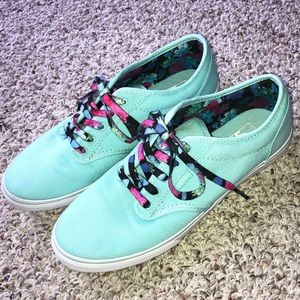 Vans Atwood Low Turquoise Sneakers w/ Floral Laces